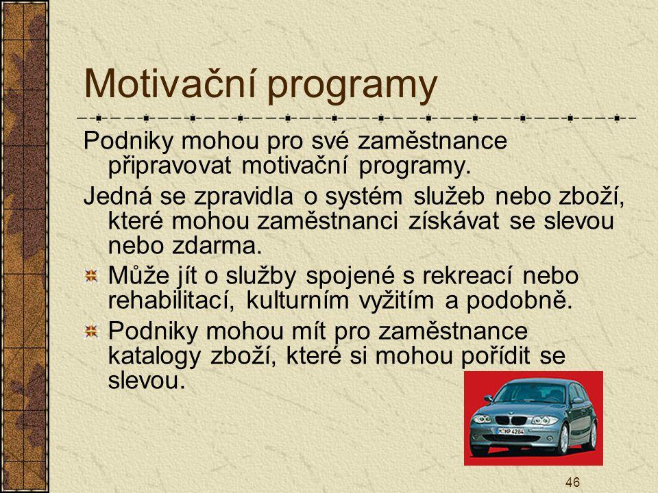 Motivační programy Podniky mohou pro své zaměstnance připravovat motivační programy.