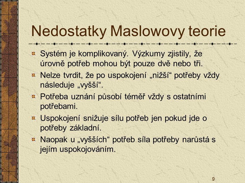 Nedostatky Maslowovy teorie