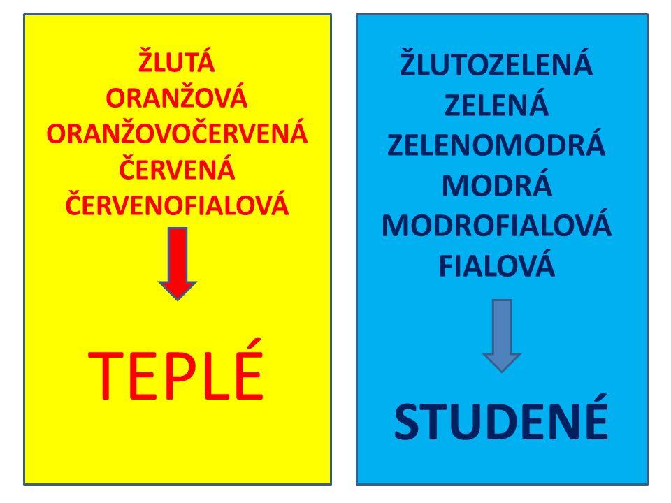 TEPLÉ STUDENÉ ŽLUTOZELENÁ ZELENÁ ZELENOMODRÁ MODRÁ MODROFIALOVÁ