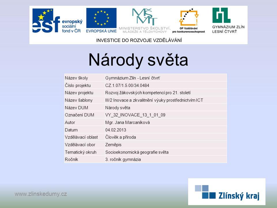 Národy světa www.zlinskedumy.cz Název školy