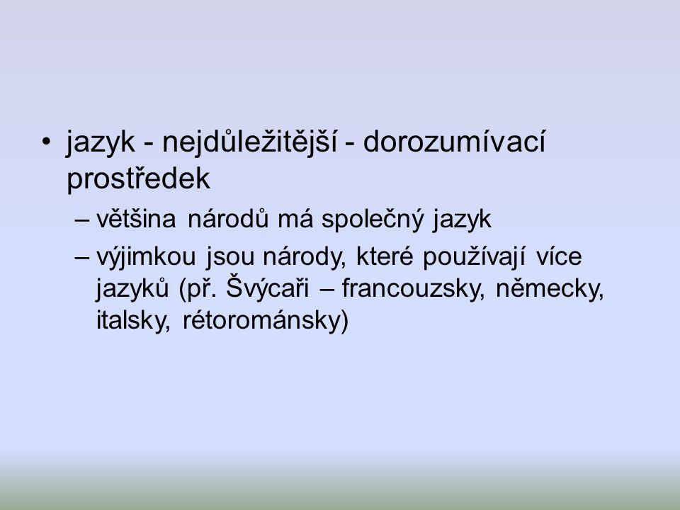 jazyk - nejdůležitější - dorozumívací prostředek