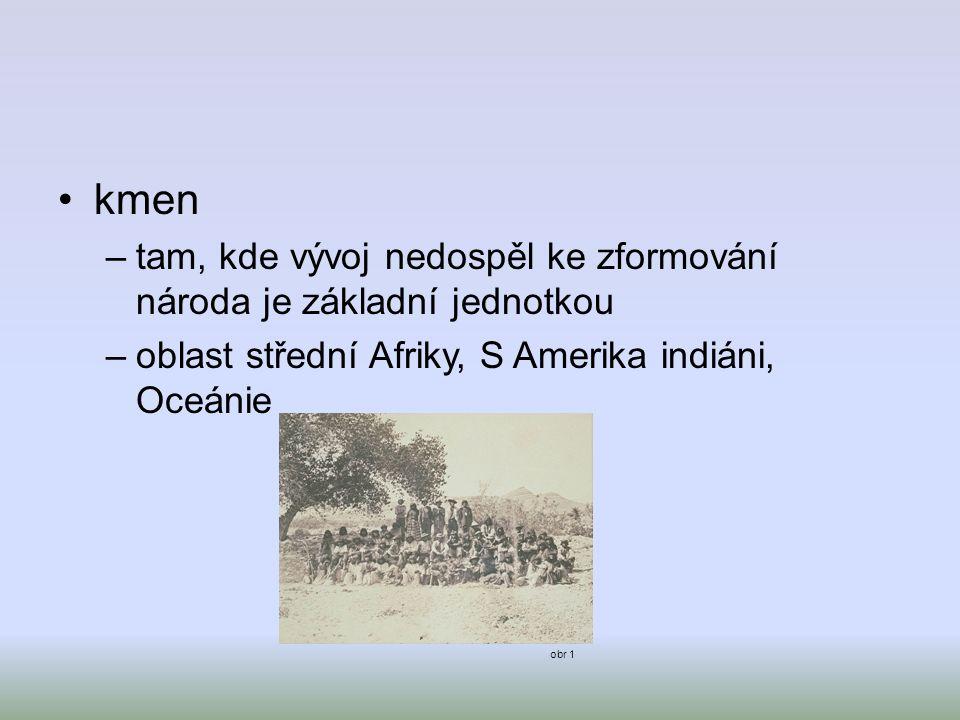 kmen tam, kde vývoj nedospěl ke zformování národa je základní jednotkou. oblast střední Afriky, S Amerika indiáni, Oceánie.