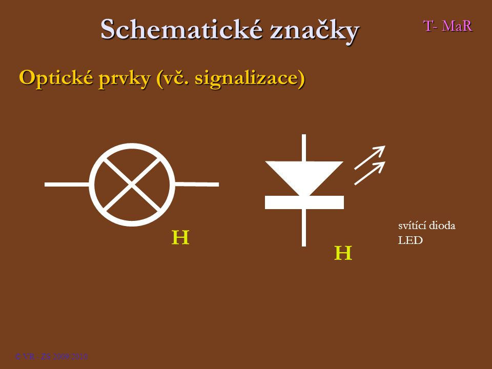 Schematické značky Optické prvky (vč. signalizace) H T- MaR