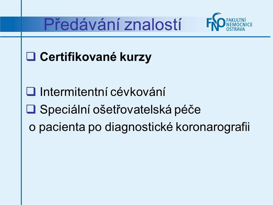 Předávání znalostí Certifikované kurzy Intermitentní cévkování