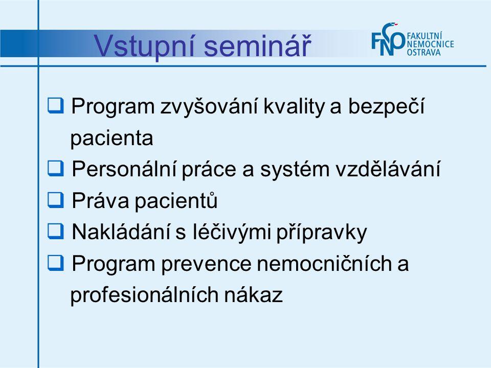 Vstupní seminář Program zvyšování kvality a bezpečí pacienta