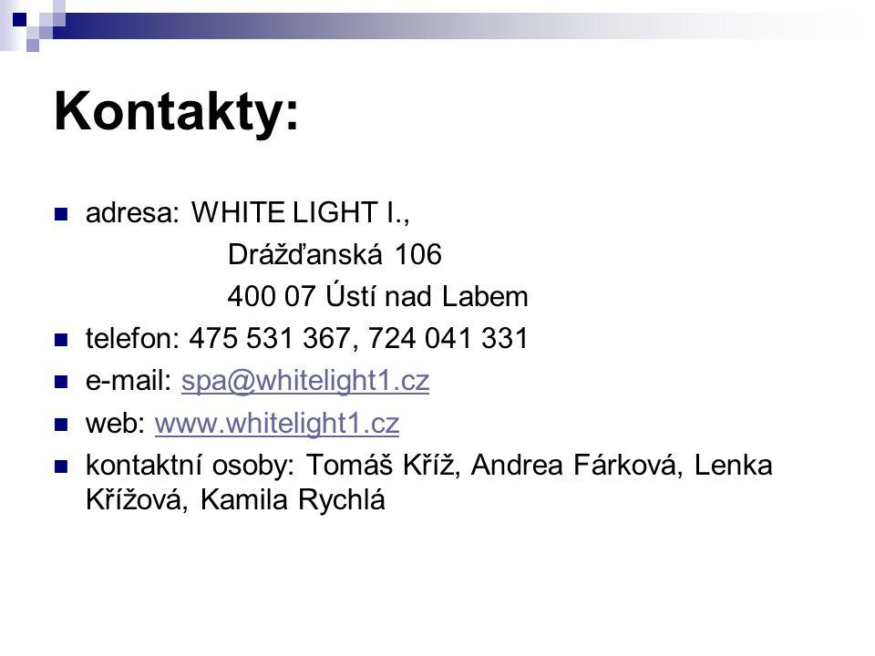 Kontakty: adresa: WHITE LIGHT I., Drážďanská 106 400 07 Ústí nad Labem