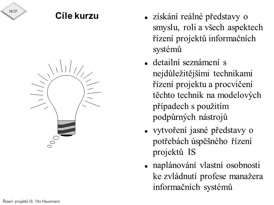 Cíle kurzu získání reálné představy o smyslu, roli a všech aspektech řízení projektů informačních systémů.