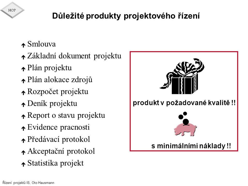 Důležité produkty projektového řízení