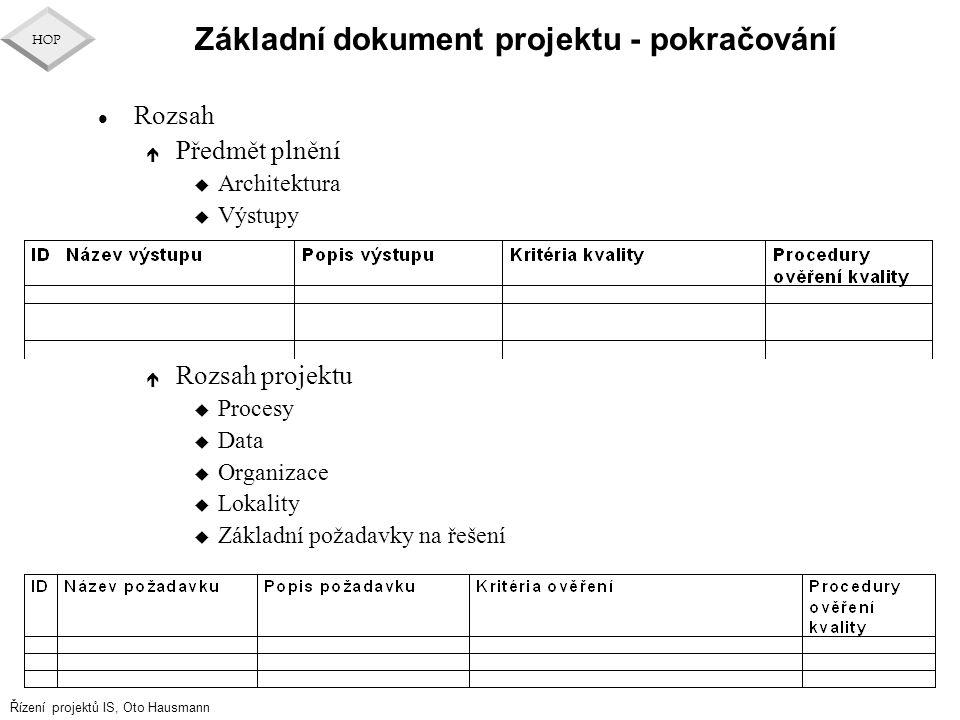 Základní dokument projektu - pokračování