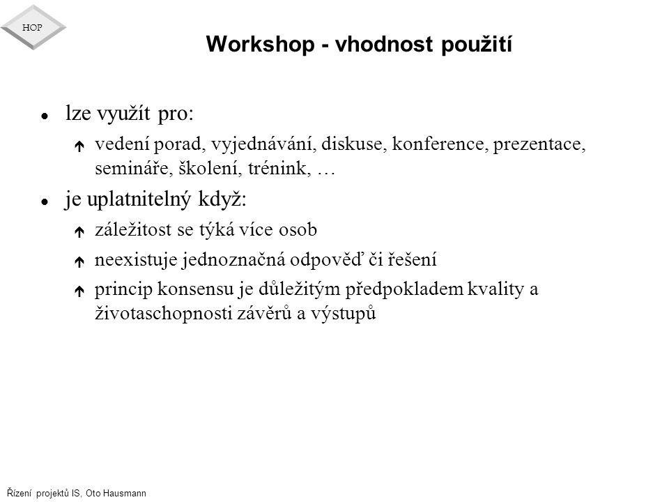 Workshop - vhodnost použití