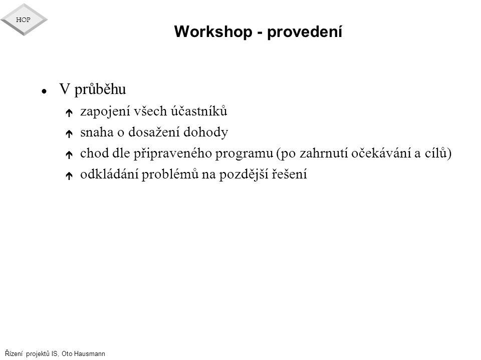 Workshop - provedení V průběhu zapojení všech účastníků