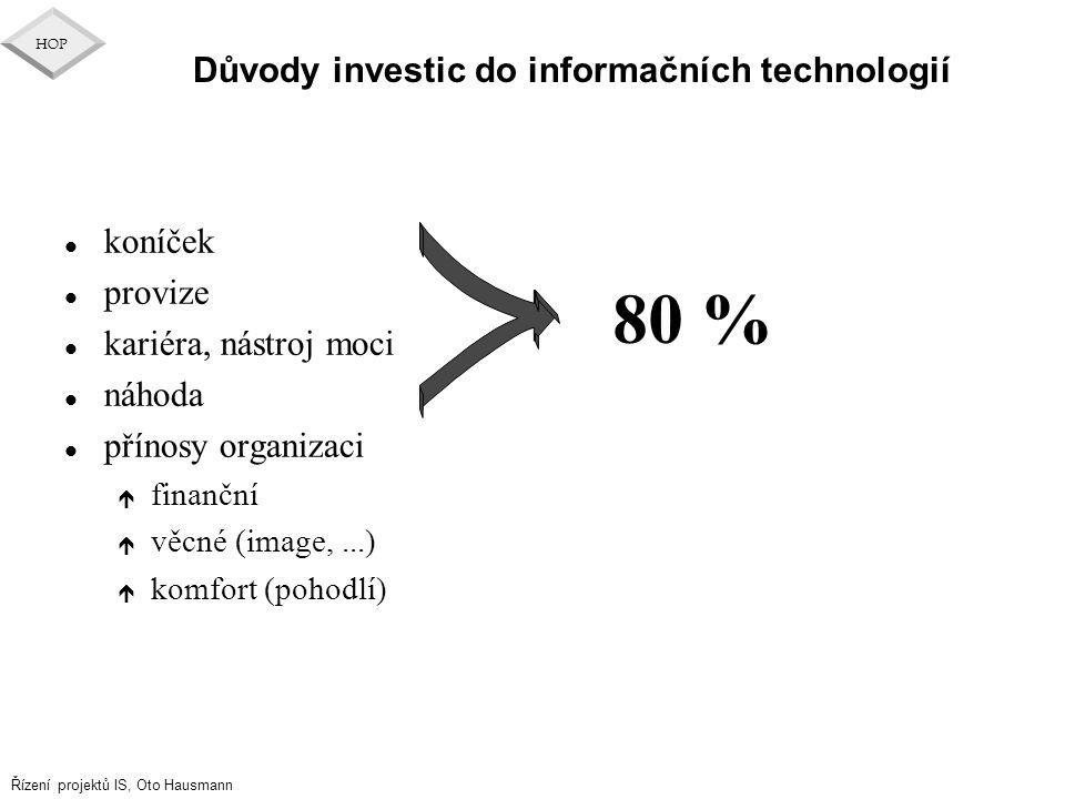 Důvody investic do informačních technologií