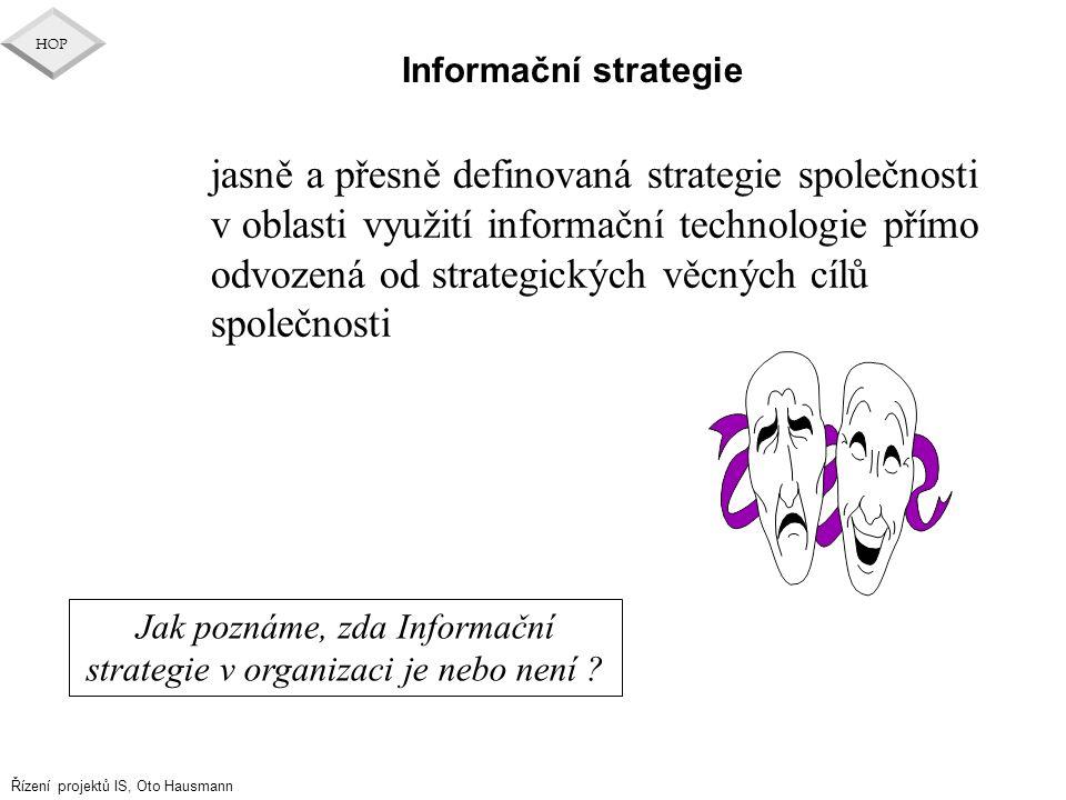 Jak poznáme, zda Informační strategie v organizaci je nebo není