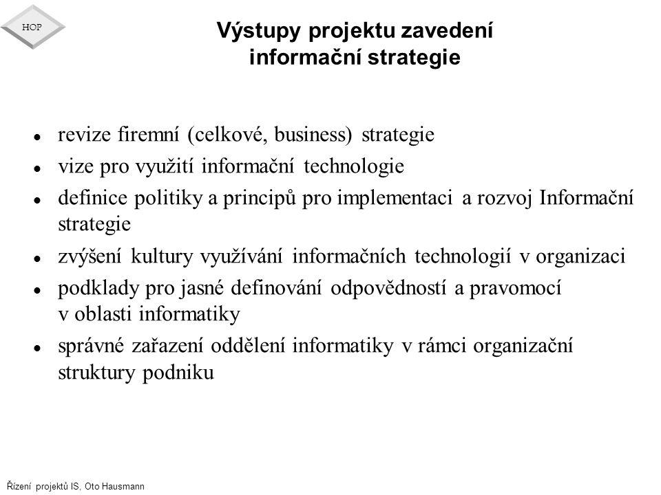 Výstupy projektu zavedení informační strategie