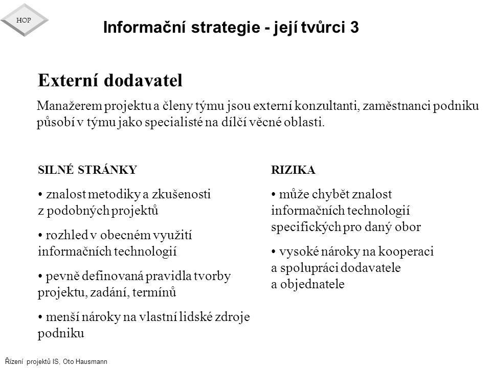 Externí dodavatel Informační strategie - její tvůrci 3