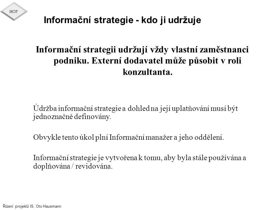 Informační strategie - kdo ji udržuje