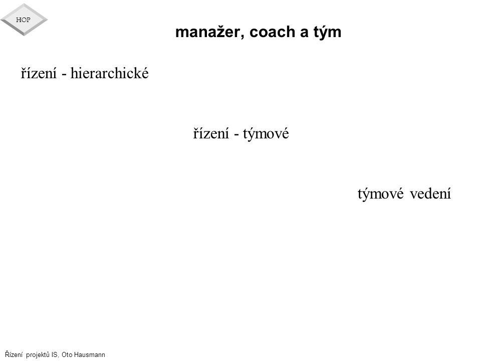 manažer, coach a tým řízení - hierarchické řízení - týmové týmové vedení