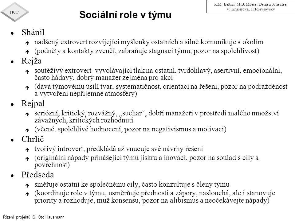 Sociální role v týmu Shánil Rejža Rejpal Chrlič Předseda