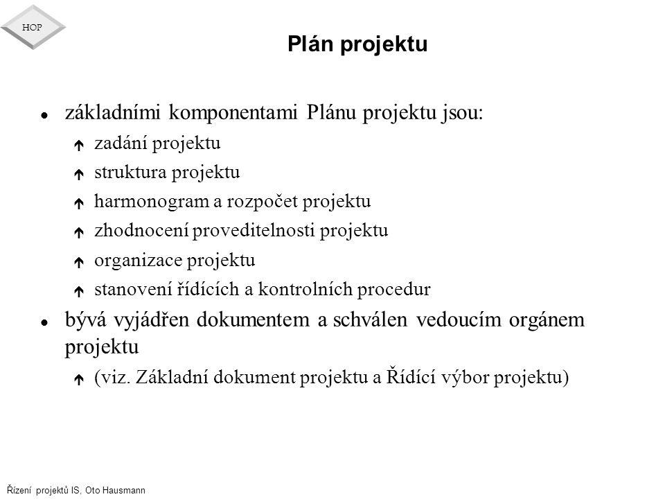 základními komponentami Plánu projektu jsou: