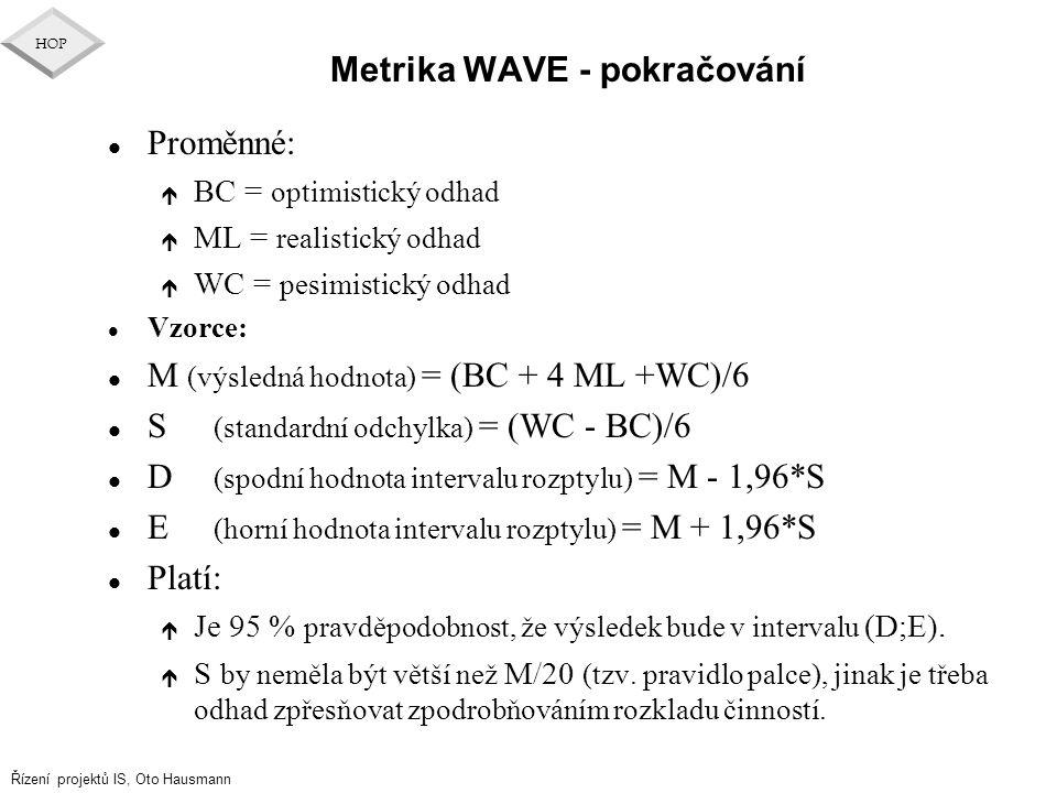 Metrika WAVE - pokračování