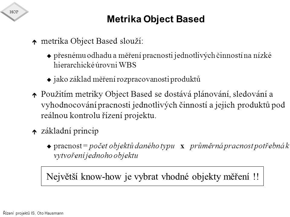Největší know-how je vybrat vhodné objekty měření !!