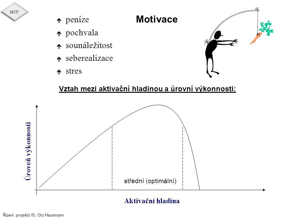 Motivace peníze pochvala sounáležitost seberealizace stres