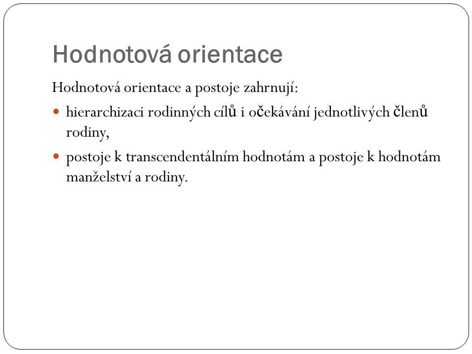 Hodnotová orientace Hodnotová orientace a postoje zahrnují: