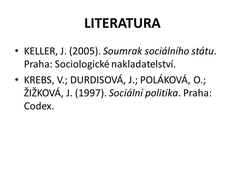 LITERATURA KELLER, J. (2005). Soumrak sociálního státu. Praha: Sociologické nakladatelství.