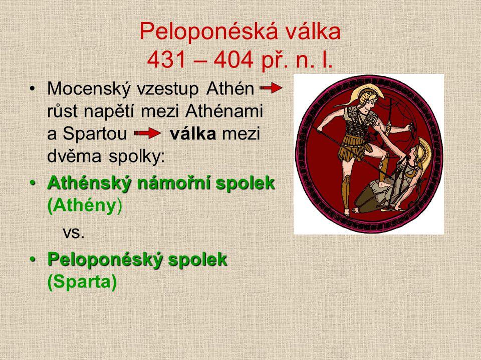 Peloponéská válka 431 – 404 př. n. l.