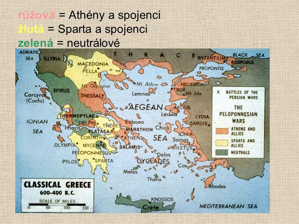 růžová = Athény a spojenci žlutá = Sparta a spojenci zelená = neutrálové
