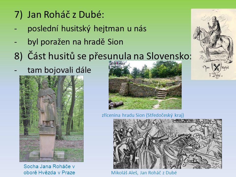 Část husitů se přesunula na Slovensko: