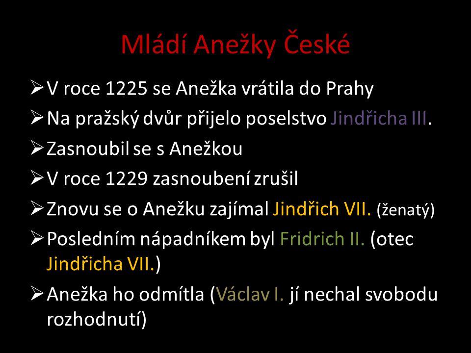Mládí Anežky České V roce 1225 se Anežka vrátila do Prahy