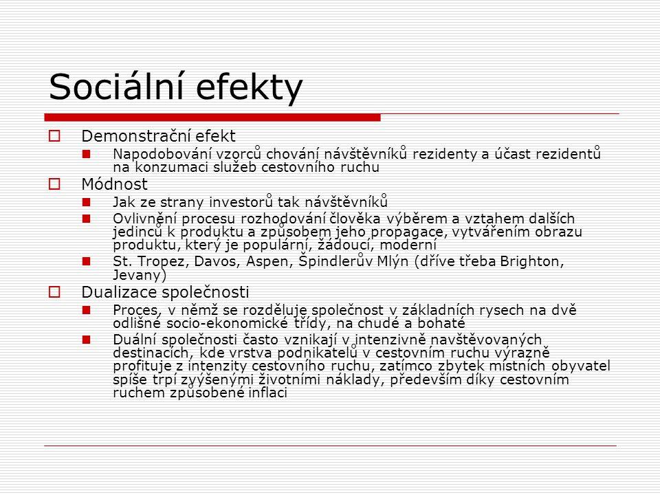 Sociální efekty Demonstrační efekt Módnost Dualizace společnosti