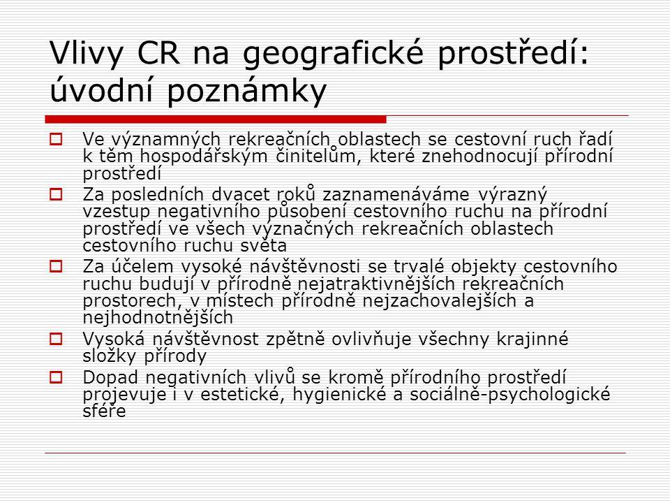 Vlivy CR na geografické prostředí: úvodní poznámky