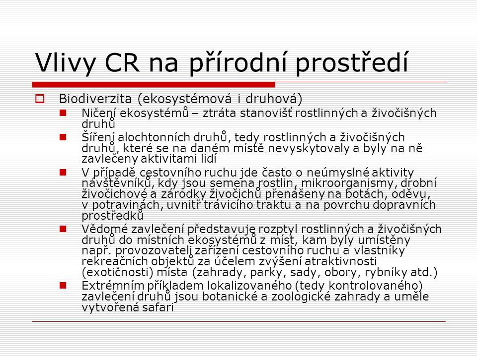 Vlivy CR na přírodní prostředí