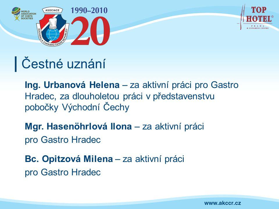 Čestné uznání Ing. Urbanová Helena – za aktivní práci pro Gastro Hradec, za dlouholetou práci v představenstvu pobočky Východní Čechy.