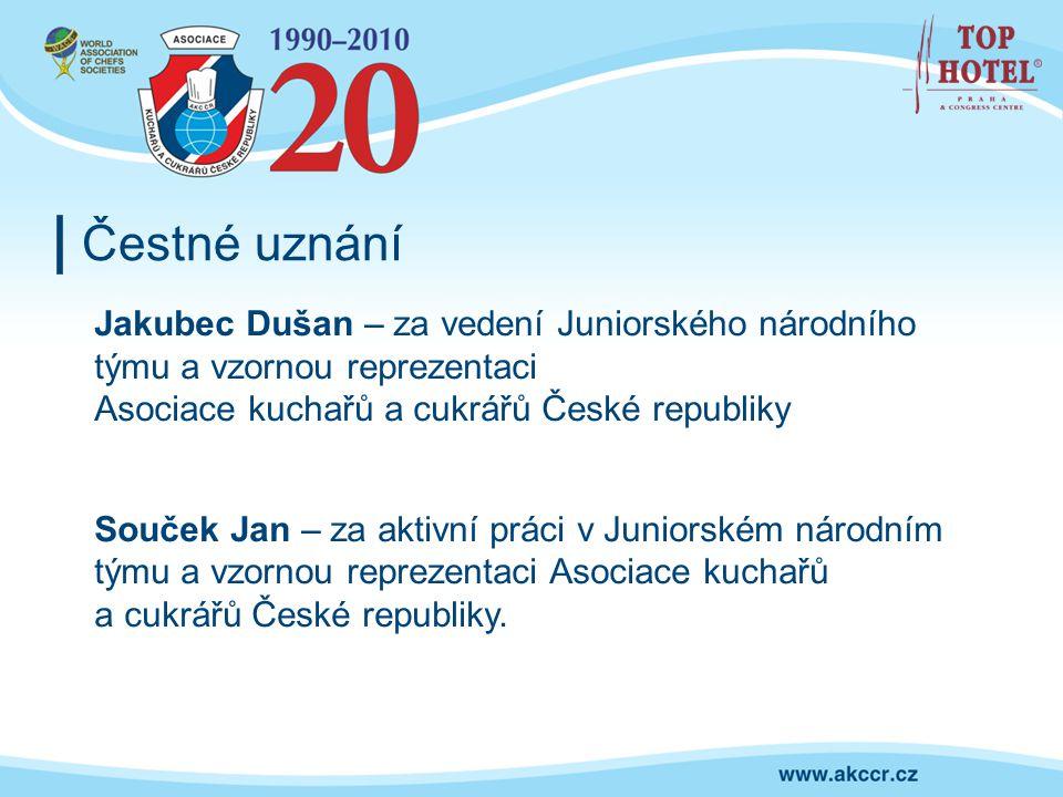 Čestné uznání Jakubec Dušan – za vedení Juniorského národního týmu a vzornou reprezentaci. Asociace kuchařů a cukrářů České republiky.