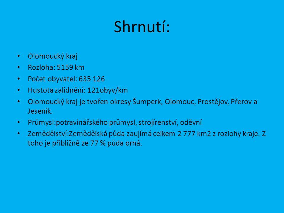 Shrnutí: Olomoucký kraj Rozloha: 5159 km Počet obyvatel: 635 126
