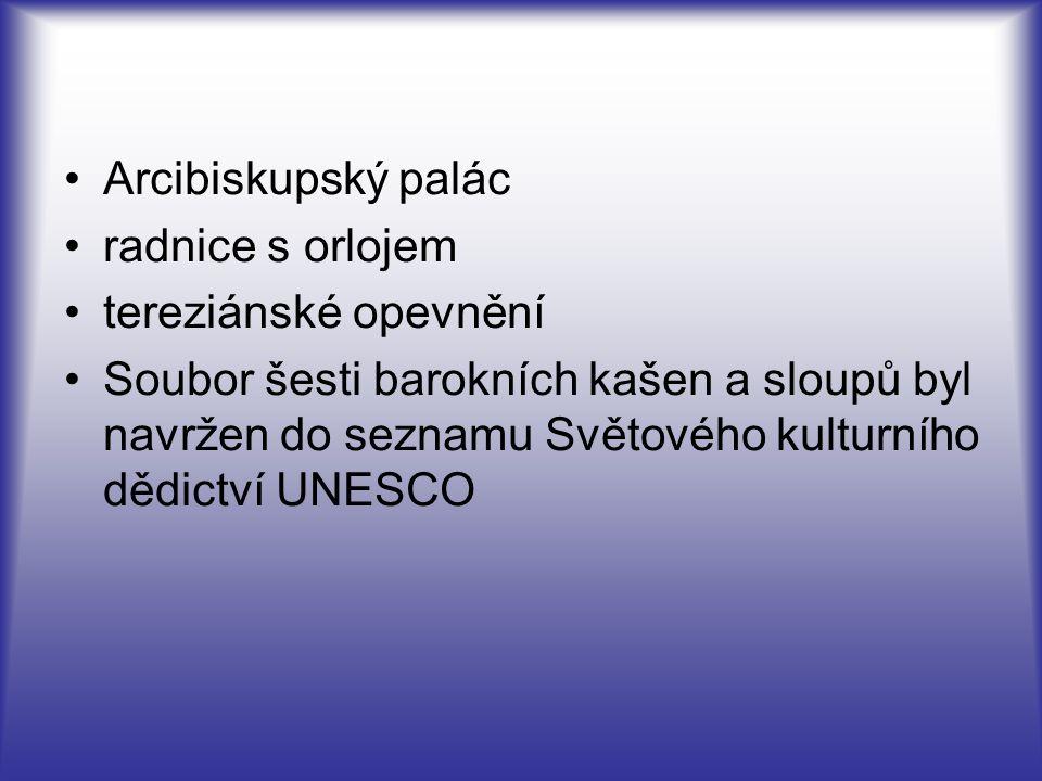 Arcibiskupský palác radnice s orlojem. tereziánské opevnění.