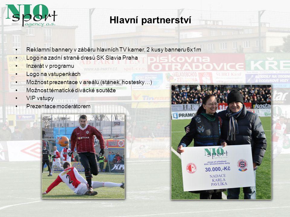Hlavní partnerství Reklamní bannery v záběru hlavních TV kamer, 2 kusy banneru 6x1m. Logo na zadní straně dresů SK Slavia Praha.