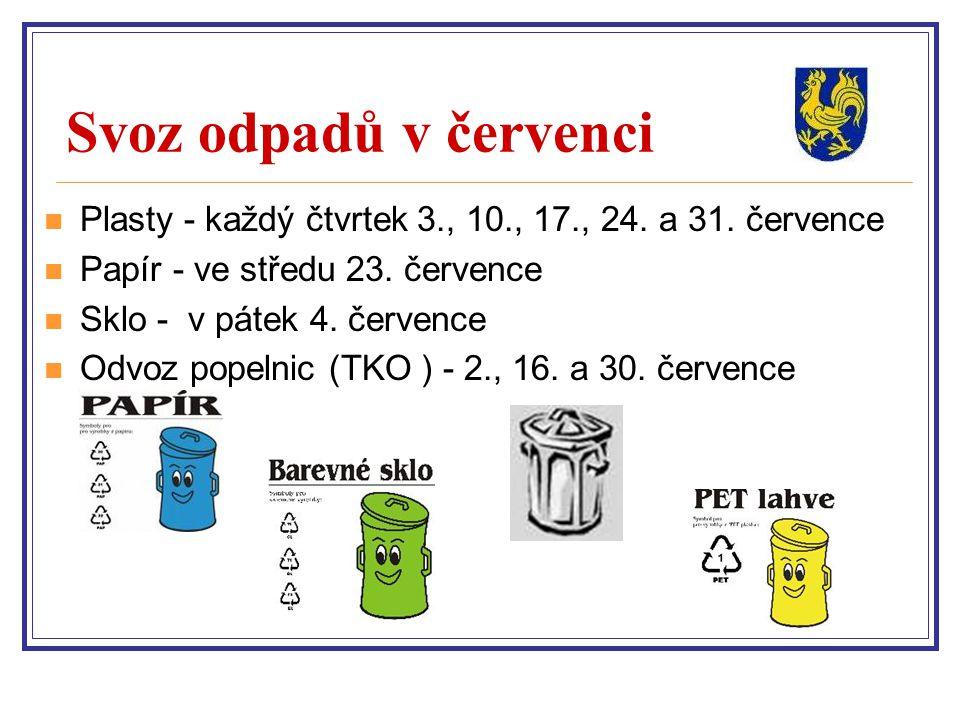 Svoz odpadů v červenci Plasty - každý čtvrtek 3., 10., 17., 24. a 31. července. Papír - ve středu 23. července.