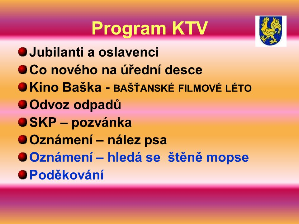 Program KTV Jubilanti a oslavenci Co nového na úřední desce