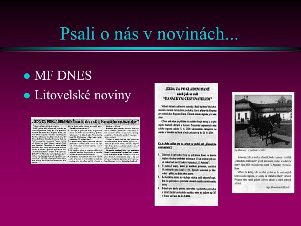 Psali o nás v novinách... MF DNES Litovelské noviny