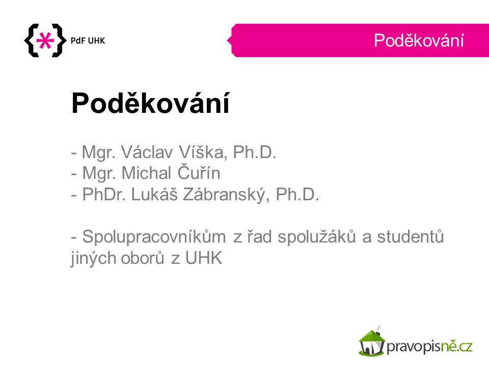 Poděkování Poděkování - Mgr. Václav Víška, Ph.D. Mgr. Michal Čuřín
