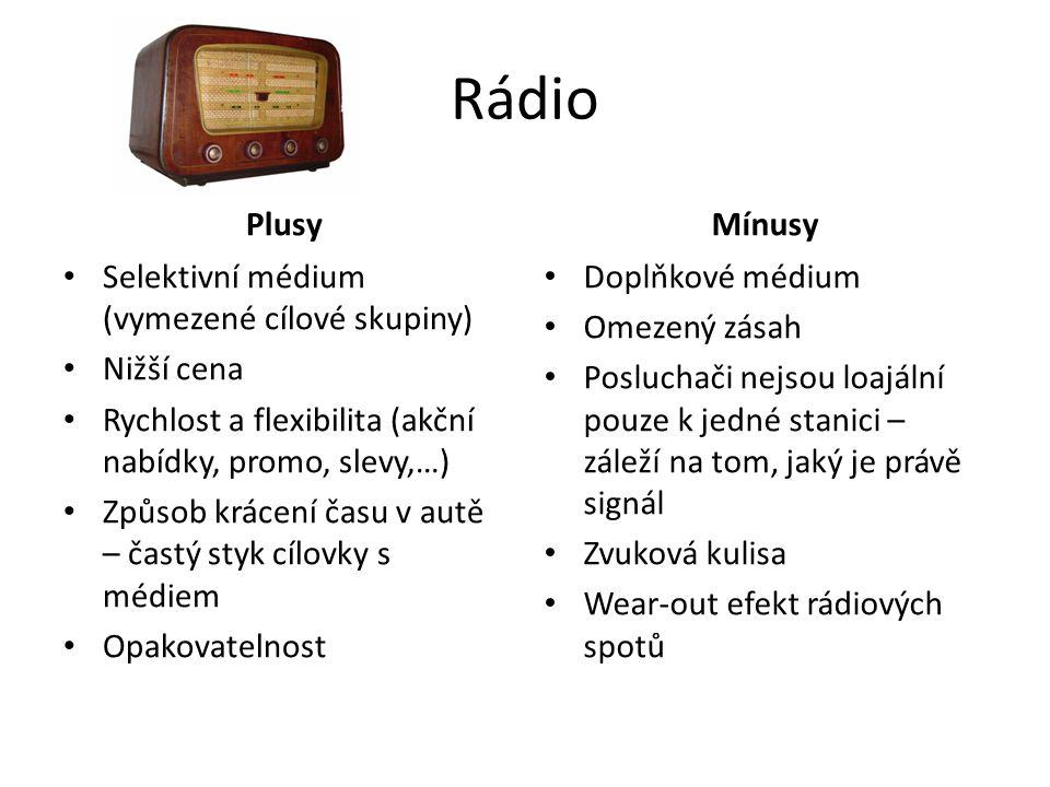 Rádio Plusy Mínusy Selektivní médium (vymezené cílové skupiny)