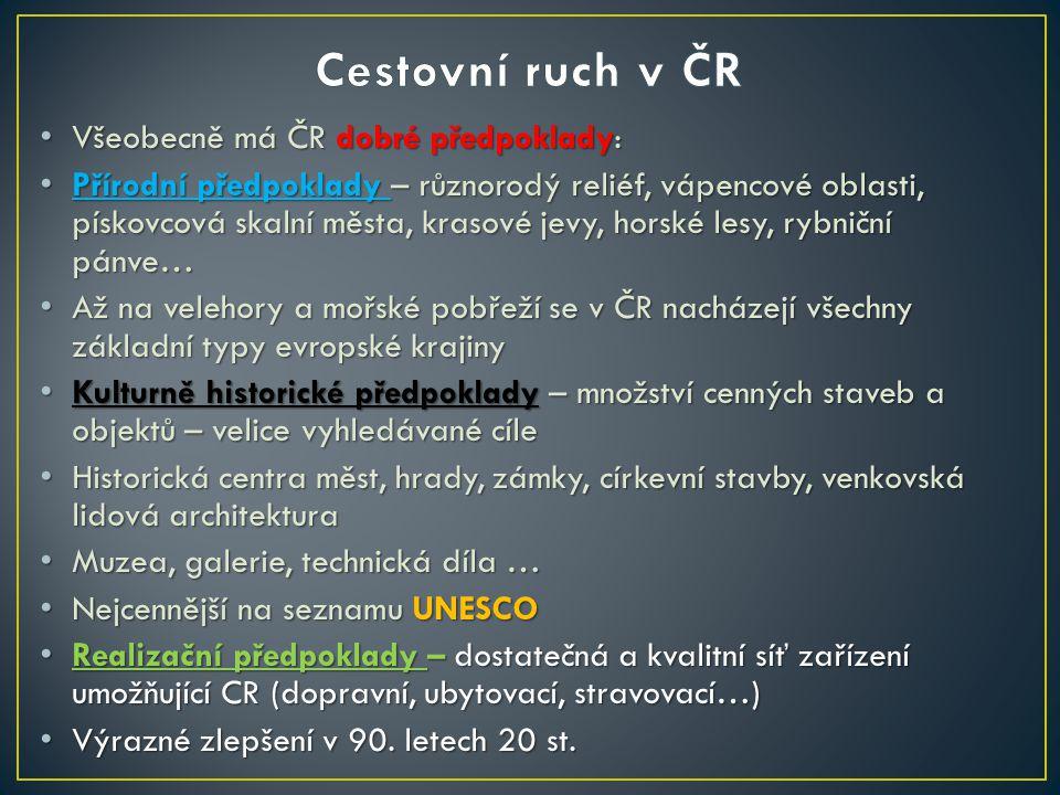 Cestovní ruch v ČR Všeobecně má ČR dobré předpoklady: