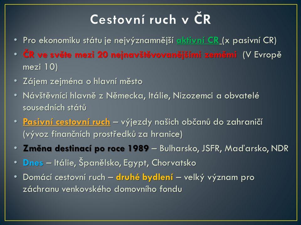 Cestovní ruch v ČR Pro ekonomiku státu je nejvýznamnější aktivní CR (x pasivní CR)