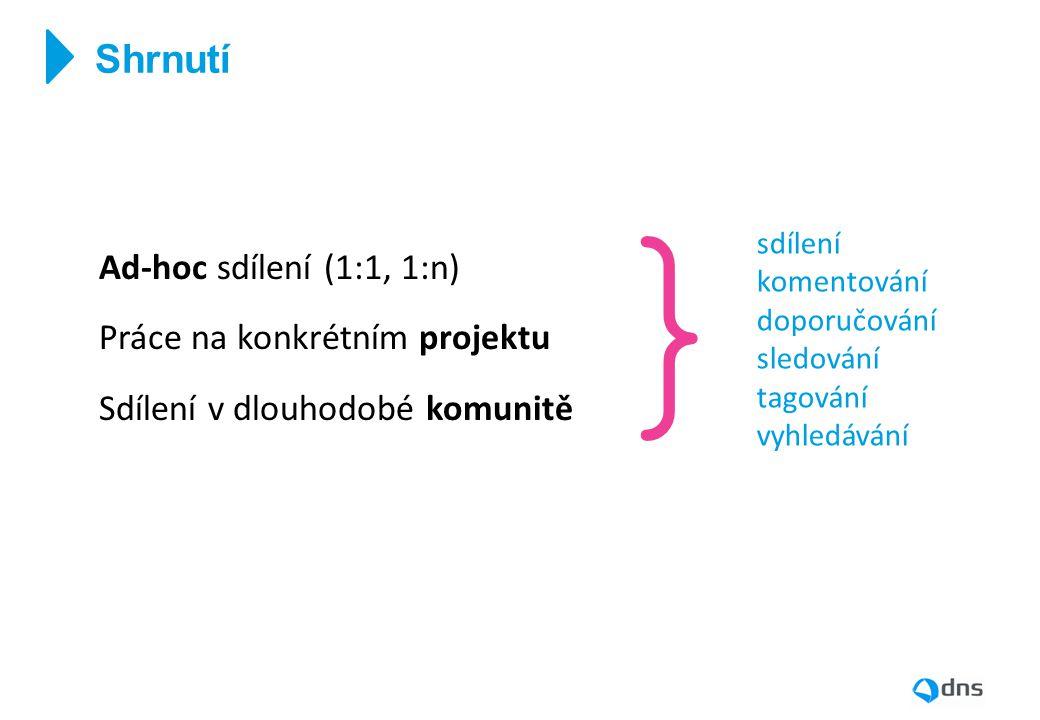 } Shrnutí Ad-hoc sdílení (1:1, 1:n) Práce na konkrétním projektu