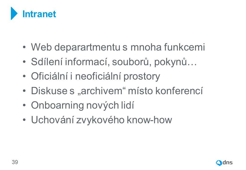 Web deparartmentu s mnoha funkcemi Sdílení informací, souborů, pokynů…