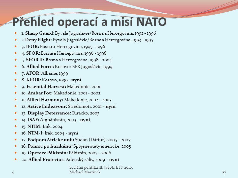 Přehled operací a misí NATO